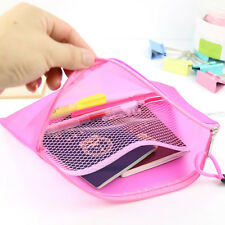 Double Layer Zippered Mesh Office Stationery Paper Document File Storage Bags