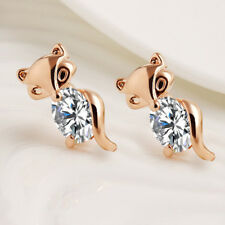 Plated Silver Gold Classic Fox Stud Earrings Crystal Earring Animal Alloy