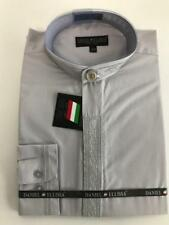New Daniel Ellissa Banded Collar Dress Shirt Silver Embroidery DS3113C