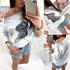 Plus Size Women One Off Shoulder T-Shirt Solid Batwing Sleeve Summer Blouse Tops