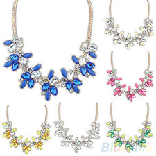 BL_ Fashion Lady Bright Crystal Drop Resin Flower Statement Choker Bib Necklace