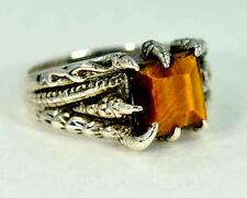 DRAGON CLAW DESIGN NATURAL TIGER EYE 925 STERLING SILVER MENS RING #0105