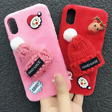 3D Cute Furry Warm Hat Soft Stand Phone Case Cover For Apple iPhone X 7 8 Plus10