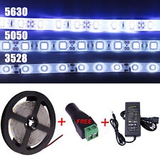 5M 3528 5050 5630 SMD Waterproof White LED Flexible Strip Light Adapter DC 12V