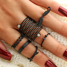 AL_ 6Pcs Mustache Bow Arrow Stacking Knuckle Rings Women Finger Ring Set Gift Be
