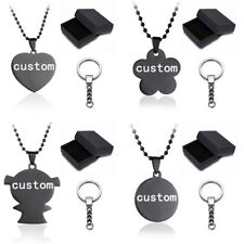 Personalized Engrave DIY Custom Letters Heart Family Dog Tag Pendant Necklace