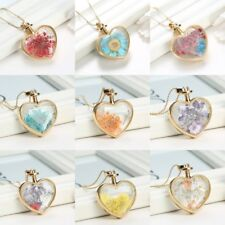 Love Heart Glass Locket Pendant Real Dried Pressed Flower Sweater Necklace Gift