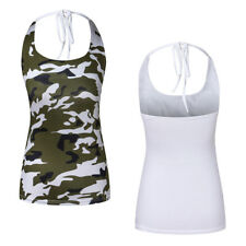 T-Shirt Hanging Neck 1Pcs Ladies Women's Vest Lacing Camouflage Slim