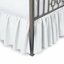 WHITE SOLID 800 TC COTTON SPLIT CORNER RUFFLE BED SKIRT ALL UK SIZE/DROP LENGTH