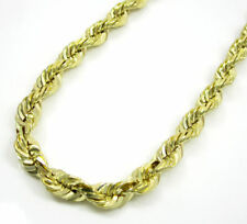 10K Solid Yellow Gold 5MM Heavy Rope Chain Diamond Cut Necklace 16-30 Inches