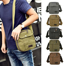 Men Vintage Canvas Messenger Bag Leather Satchel School Military Shoulder E0116