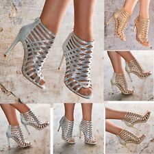 Ladies Caged Heels Diamante Embellished High Heel Sandals Occasion Shoes Size