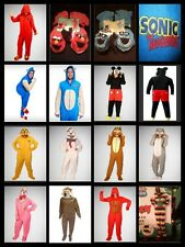 ADULT CHARACTER FOOTED PAJAMAS ONE PIECE FOOTIE COSTUME HOOD DETACH FEET CAPE