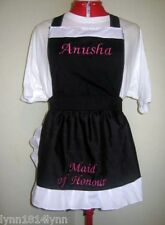 BRIDAL SHOWER APRONS with LARGER NAME on BIB & TITLE on SKIRT Most colors & size