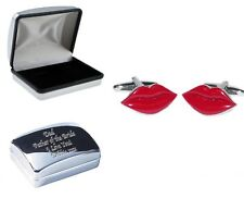 Valentine Lips Lovers Metal Cufflinks In Case, can be Personalised X2AJ092+XDCB