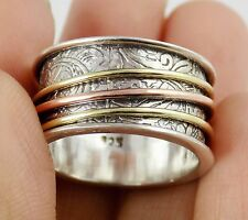 Spinner Silver Ring,Bronze Rose Gold Plated Silver Ring,925 Silver Filigree Ring