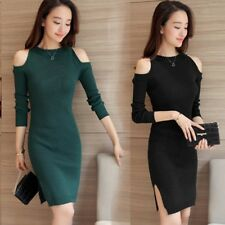Women  Korean Casual Knit Off Shoulder Stretch Slim Tunic Cocktail Party Dress