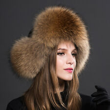 Womens Ladies Real Fox Fur Hat Russian Ushanka Lamb cloth  Top Warm Winter