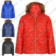 New Girls Kids Quilted Puffer Bubble Padded Jacket Fur Hooded Gold Zip Up Coat