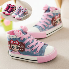 Child Girls Kids High Top Canvas Shoes Casual Sneakers Sports Running Breathable
