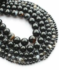 1Strand Nice Black & White Stripes Onyx Agate Round Loose Beads 15.5inch HH3570