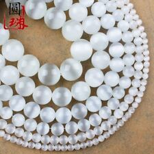 Wholesale 1 Strand Nice White Cat Eye Gemstone Round Loose Beads 15.5inch HH3590