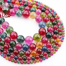 1Strand Unique Multicolor Tourmaline Crystal Round Loose Beads 15.5inch HH3600