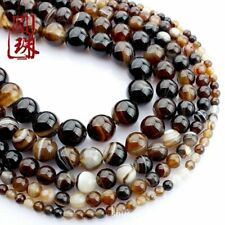 1Strand Beautiful Coffee Stripes Onyx Agate Round Loose Beads 15.5inch HH3617