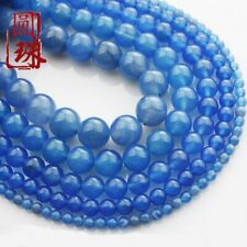 Wholesale 1Strand Beautiful Blue Agate Round Loose Beads 15.5inch HH3621