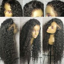 Malaysian Human Hair Curly Wavy Lace Front Wig 4X4 Silk Base Top Full Lace Wig F