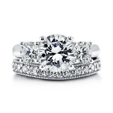 Sterling Silver .925 CZ Round 3 Stone Engagement Ring Wedding Band Set Sz 5-10