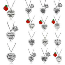 Thank You Grateful Teacher Plant Seeds Red Apple Necklace Pendant Jewelry Gift