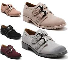 WOMENS OXFORDS BROGUES SLIP ON STUDDED SHOES LADIES DANCE LOW HEEL LOAFERS SIZE