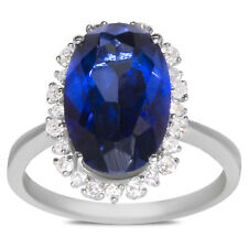 Women's Diamond with Created Blue Sapphire Oval Ring in 10k White Gold for Women