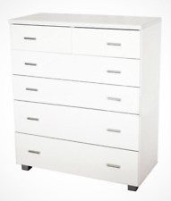 New 6 Drawer Tallboy Chest of Drawers Flat Packed White