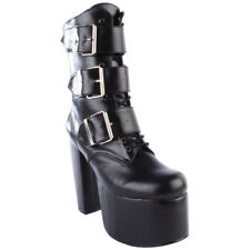 "Demonia Torment-703 5 1/2"" Heel Goth Punk Cyber 3 Buckle Ankle Boot Calf Boot"