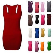 Womens Casual Top Dress Ladies Sleeveless Racer Back Bodycon Muscle Vest Gym Top