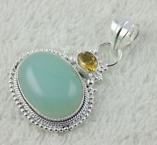 Natural Seafoam Chalcedony And Citrine Gemstone 925 Sterling Silver Pendent
