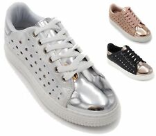 LADIES LOW WEDGE GYM CASUAL METALLIC SPORTSWEAR  LACE UP TRAINERS FLAT SHOES