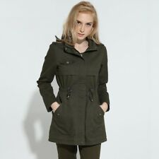 Women Trench Coat Turn Down Collar Army Green Casual Zippers Full Sleeves Length