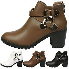 Gina Womens Mid Heel Chunky Cut Out Ankle Boots Ladies Buckle Biker Shoes Size