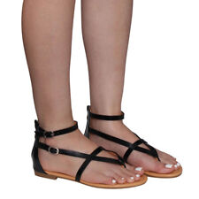 Women's Flat Heel Flip Flop Sandal V-strap Ankle Thong Gladiator One Size Small
