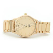 Mens 14K Gold Plated Gold Luxury Designer Gold Bezel Metal Band Watch F33GD