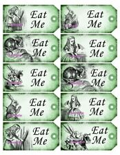 Alice in Wonderland 20x Green Gift Tag Food Label Party - Eat Me - Wedding Craft