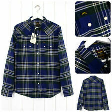 NEW LEE 101 RIDER FLANNEL SHIRT CHECK BLUE/GREEN LUMBERJACK SAW TOOTH S/M/L orXL