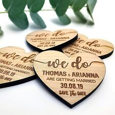 Wooden Save The Date Wedding Personalised Magnets Fridge Rustic Invitation Heart