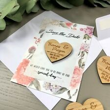 Personalised Wedding Invitations Rustic Save The Date Cards Wooden Magnet Floral