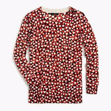 J.Crew Womens Red Multi Ribbed Trim Hearts Printed Pullover Sweater Top Sz S,M,L