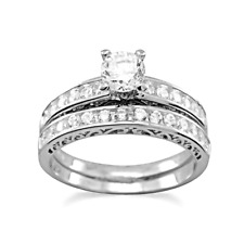 Rhodium Plated Sterling Silver Double Ring Wedding Band Set with CZs, Gift Boxed