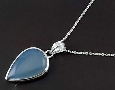 Natural Chalcedony 24x28mm Pear Shape Cabochon Gemstone 925 Sterling Silver